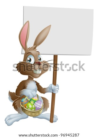 Easter bunny rabbit holding a basket of Easter eggs and a sign