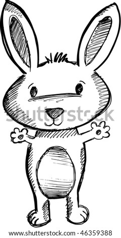 Easter Bunny Rabbit Vector Sketch Doodle - stock vector