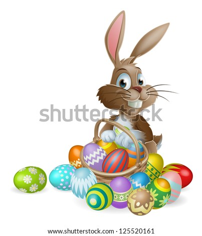 Easter bunny rabbit with Easter basket full of decorated Easter eggs