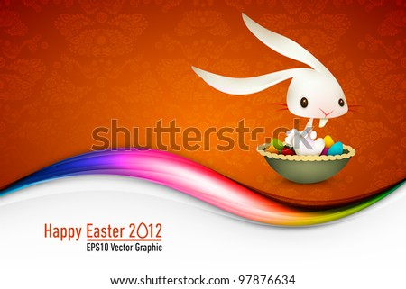 Easter Bunny Sitting in Bowl full of Colored Eggs| EPS 10 Vector Card | Layers Organized and Named Accordingly