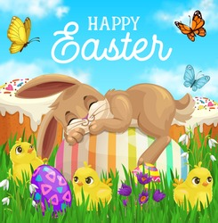 Easter bunny sleeping on egg vector greeting card with green grass, chicks, Easter sweet cakes and spring flowers, butterflies, blooming crocuses and lily of the valley. Resurrection Sunday holiday