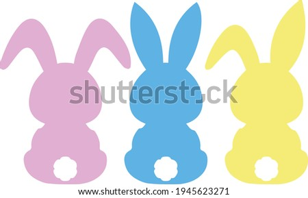Easter bunny Svg vector Illustration isolated on white background. Easter  rabbit for Cricut and Silhouette.Easter decoration for shirt and scrapbooking. Pink bunny girl and blue bunny boy