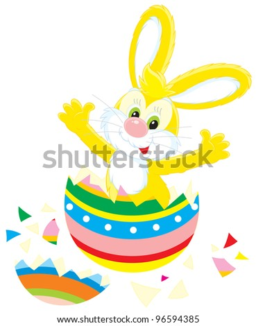 Easter Bunny that hatched out from a colorful painted egg like a chick - stock vector