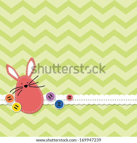 stock-vector-easter-bunny-with-chevron-background-decorated-with-stitched-lace-and-buttons