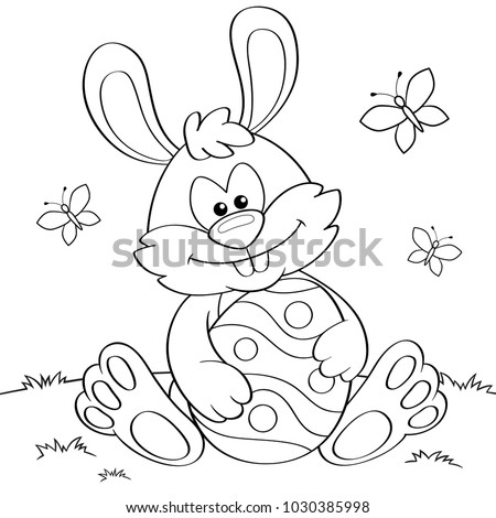 Easter Bunny with Easter egg. Black and white vector illustration for coloring book