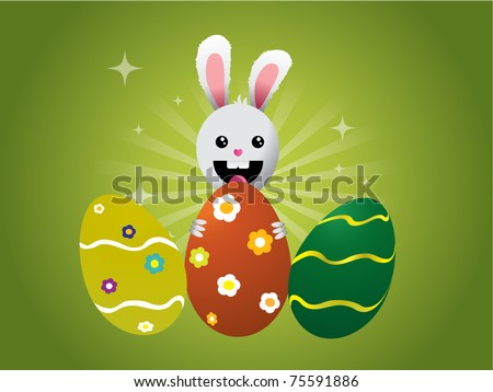 Easter bunny with eggs on green background
