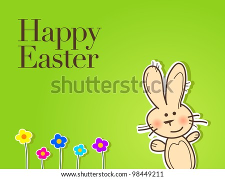 easter bunny with flowers on green background