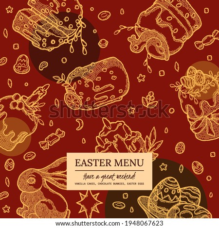Easter Cake and Pastry Cover for Recipe Book, Delivery. Hand drawn Bakery, Kulich, Chocolate Bunny, Colored Eggs design in color. Homemade summer dessert Menu template. Ilustration for Food Cafe stock photo