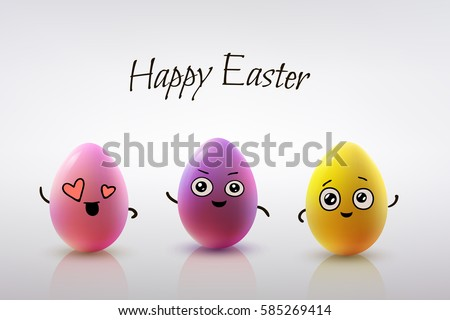Easter Card Design Set Of Realistic Eggs On White Background Smiling Doodle Characters