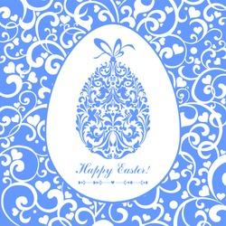 Easter card. Easter egg with floral elements. Vector Illustration
