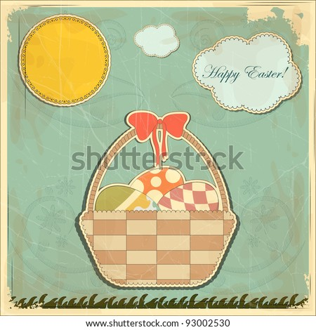 Easter card in vintage style - basket of Easter eggs - vector illustration