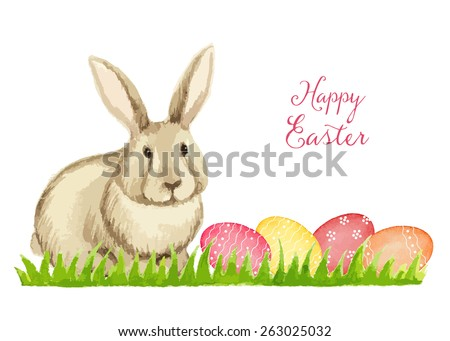Easter card on a white background, watercolor, vector illustration. #263025032