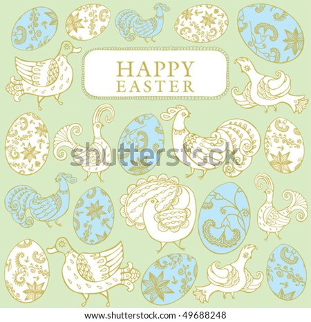 Easter card template with colored eggs, flowers and a birds
