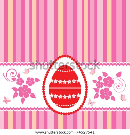 Easter card template with red egg and butterflies. vector.