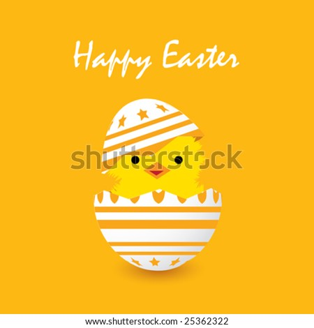 easter card with a hatching chick, vector illustration - stock vector