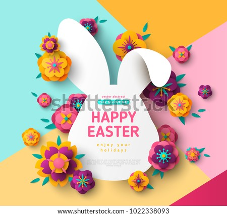 Easter card with bunny rabbit shape frame, spring flowers on colorful modern geometric background. Vector illustration. Place for your text.