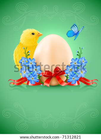 easter card with egg chicken and forget-me-not flowers. Vector illustration. Gradient mesh used
