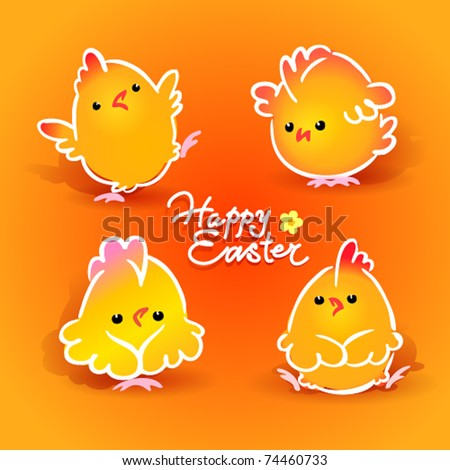 Easter card with four chickens (roosters and hens) on the orange background. Vector illustration. - stock vector
