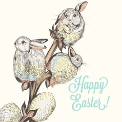 Easter card with hand drawn vector rabbits in creative vintage style