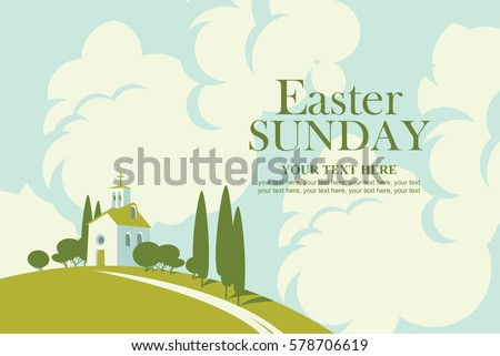 easter card with landscape with