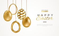 Easter card with modern trendy gold eggs set on white background. Vector illustration. Poster, holiday banner, flyer or greeting voucher, brochures design template layout. Place for text.