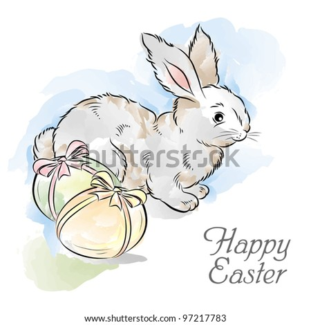 easter card with rabbit and two