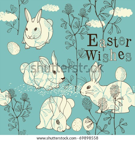 Easter card with rabbits