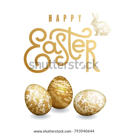 """Easter card with realistic Easter eggs, easter bunny and inscription """"Happy Easter"""". Marble patterns. Gold foil and white color. Vector illustration art. Festive design."""