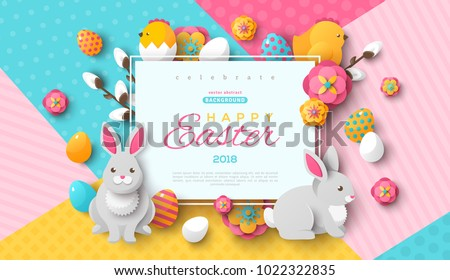 Easter card with square frame, spring flowers and flat easter icons on colorful modern geometric background. Vector illustration. Place for your text.