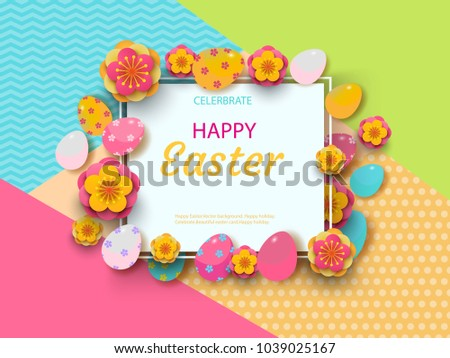 Easter card with square frame, spring flowers and flat easter icons on colorful modern geometric background. Vector illustration. Place for your text. #1039025167