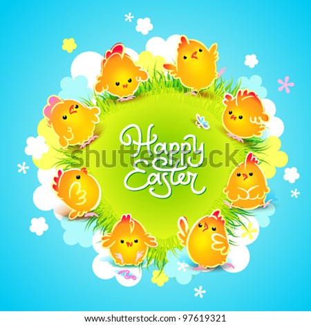Easter card with the cute chickens around the meadow with flowers. Vector illustration.