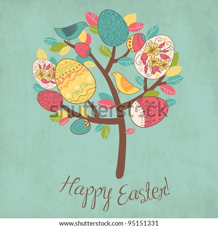Easter Card with tree, eggs and birds - stock vector