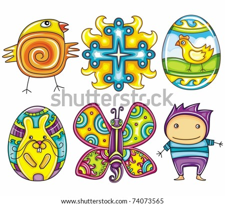 Easter cartoon icon set  part 2: Cute newborn chick, cross sign, decorative painted Easter egg, Eater egg with painted bunny or rabbit,  colorful butterfly, icon of a little boy
