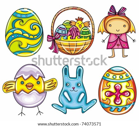 Easter Cartoon Icon Set Part 1 Painted Egg Basket With Eggs And
