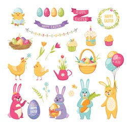 Easter cartoon set with cake balloons and eggs isolated vector illustration
