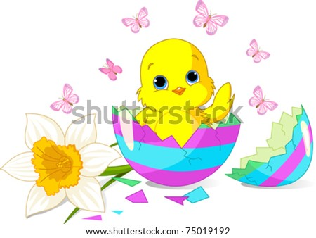 Easter chick sitting in the broken Easter Egg.