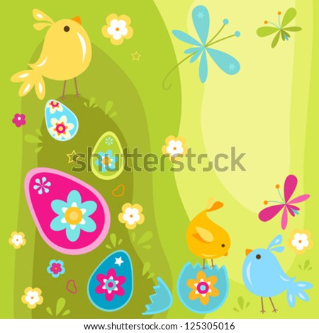 easter chicks and eggs design - stock vector