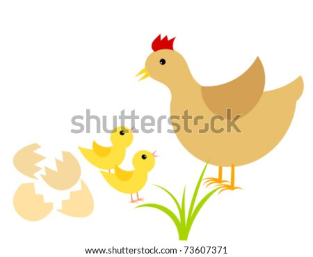 Easter chicks and mother hen. Vector illustration