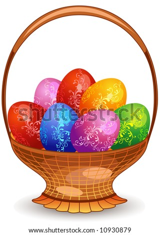 Easter colour eggs painted by patterns, combined in basket from rod