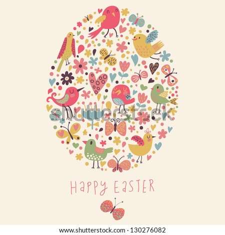 Easter concept card. Bright holiday background made of flowers, birds, hearts and butterflies in cartoon style in vector
