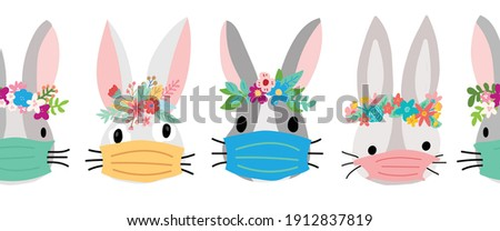 Easter Coronavirus Bunnies with face mask seamless vector border. Repeating Easter holiday rabbit pattern. Cute animal kids decor pandemic Easter holidays. Bunny with flower crowns for banner, cards