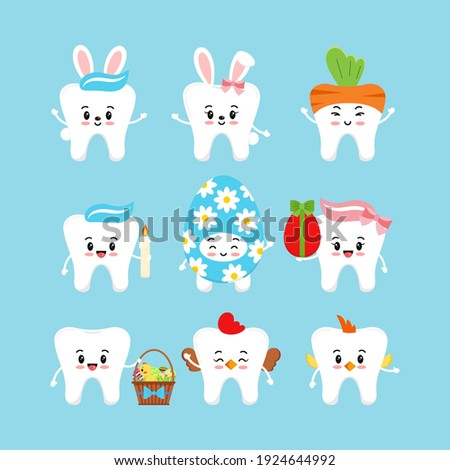 Easter cute teeth dental icon set isolated. Dentist white tooth character with bunny ears, easter basket, candle, in egg, hen, chicken costume. Flat cartoon vector kids dentistry clip art illustration