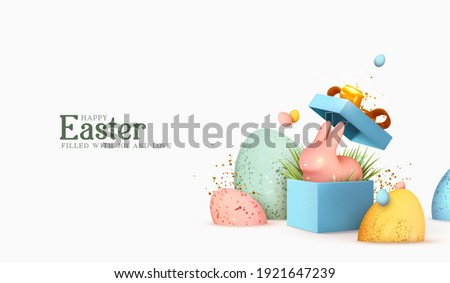 Easter day design. Realistic blue gifts boxes. Open gift box full of decorative festive object. Holiday banner, web poster, flyer, stylish brochure, greeting card, cover. Spring Easter background