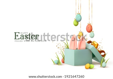 Easter day design. Realistic blue gifts boxes. Open gift box full of decorative festive object. Holiday banner, web poster, flyer, stylish brochure, greeting card, cover. Spring Easter background Stockfoto ©