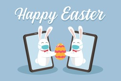 Easter day vector concept: Two rabbits wearing face mask while holding easter egg together on mobile phone with Happy Easter text