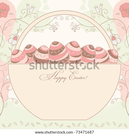 easter design with a basket full of eggs with a place for your text message, vector