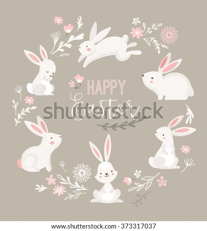 easter design with cute banny
