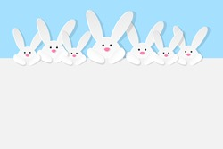 Easter design with cute bunnies on blue background. Vector illustration.
