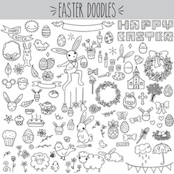 Easter doodles black outline, bunny with basket drawing, decorated eggs sketch, spring flower wreath, farm animals, sheep and chicken with chick, desert food and tea cup, arts and craft, church bells