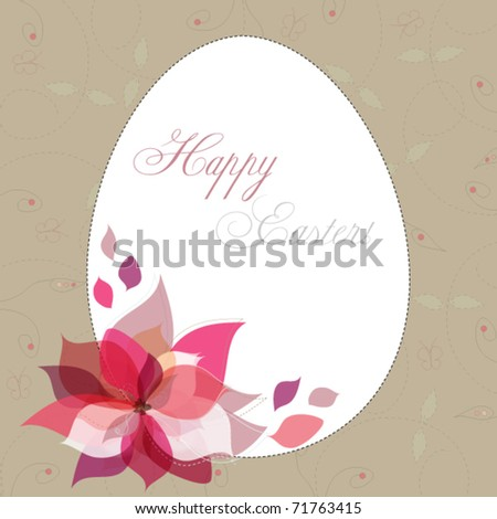 Easter egg and beautiful flower